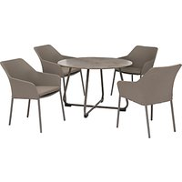 KETTLER Manhattan 4 Seater Wrap Table & Chairs Set, Taupe