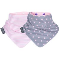 Cheeky Chompers Baby Neckerbib, Pink/Polka, Pack of 2