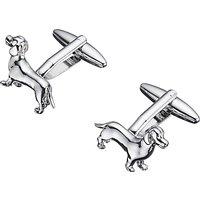 John Lewis & Partners Dachshund Cufflinks, Silver
