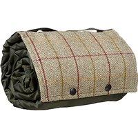 Croft Collection Herringbone Tweed & Fleece Picnic Rug, Olive