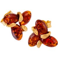 Image of Be-Jewelled Sterling Silver Amber Flower Stud Earrings, Silver/Cognac