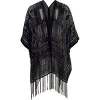 Chesca Velvet Burnout Kimono, Black