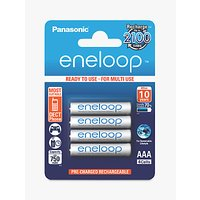 Panasonic Eneloop Pre-Charged Rechargeable AAA Batteries, Pack of 4
