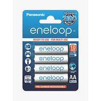 Panasonic Eneloop Pre-Charged Rechargeable AA Batteries, Pack of 4