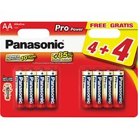 Panasonic Pro Power Alkaline AA Batteries, Pack of 4 + 4 for Free