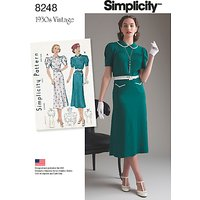 Simplicity Womens 1930s Dresses Sewing Pattern, 8248
