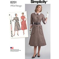 Simplicity Vintage Womens 1950s One-Piece Dresses Sewing Pattern, 8251