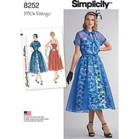 Simplicity Vintage Womens 1950s Dress and Redingote Sewing Pattern, 8252