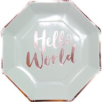 Ginger Ray Hello World Paper Plates, Pack of 8