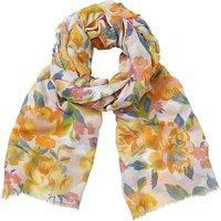 John Lewis New Summer Rose Floral Print Scarf, Yellow/Multi