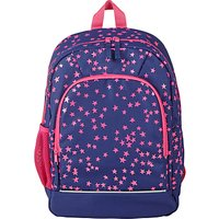 John Lewis Children's Star Print School Backpack, Navy/Pink