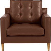 John Lewis Draper Leather Armchair, Light Leg