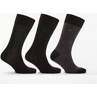 Calvin Klein Birdseye Rib Socks, One Size, Pack Of 3, Black