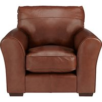 John Lewis Leon Leather Armchair, Dark Leg