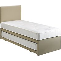 John Lewis and Partners Savoy Two Open Spring Trundle Guest Bed, Canvas Pebble, Small Single