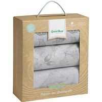 The Little Green Sheep Wild Cotton Baby Bear Moses/Pram Bedding Set, Pack of 3, Grey