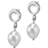 Dower & Hall Open Circle Pearl Drop Earrings