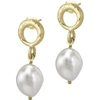 Dower & Hall Open Circle Pearl Drop Earrings
