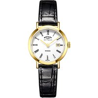 Rotary LS90156/01 Womens Les Originales Windsor Date Leather Strap Watch, Black/White