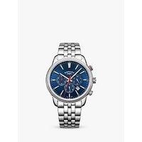 Rotary GB05083/05 Mens Monaco Chronograph Date Bracelet Strap Watch, Silver/Blue