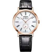 Rotary LS90193/41 Womens Les Originales Leather Strap Watch, Black/White