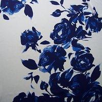 John Kaldor Heavy Painted Rose Print Fabric, Blue