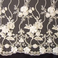 Carrington Fabrics Genevieve Embroidered Lace Fabric, Ivory