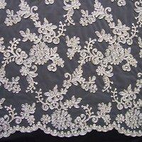 Carrington Fabrics Patricia Bridal Lace Fabric, Silver/Ivory