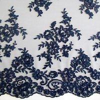 Carrington Fabrics Naomi Bead Bridal Lace Fabric, Navy