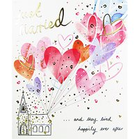 Woodmansterne Church Balloons Just Married Greeting Card