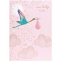 Sara Miller New Baby Girl Stork Greeting Card