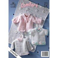 King Cole Comfort DK Baby Jumper and Pram Blanket Crochet Pattern, 3016
