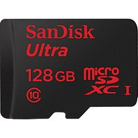 SanDisk Ultra UHS-I Class 10 microSDXC Memory Card, 128GB, 80MB/s with SD Adapter