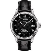 Tissot T0064071605300 Men's Le Locle Date Leather Strap Watch, Black