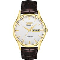 Tissot T0194303603101 Mens Visodate Automatic Day Date Leather Strap Watch, Brown/White