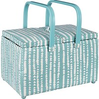 John Lewis Xander Print Twin Lid Sewing Basket, Blue