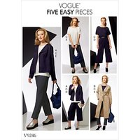 Vogue Womens Drop Shoulder Jacket Top and Pull-On Trouser Outfit Sewing Pattern, 9246