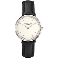 ROSEFIELD TWBLS-T54 Womens The Tribeca Leather Strap Watch, Black/White