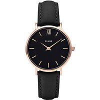 CLUSE CL30022 Womens Minuit Rose Gold Leather Strap Watch, Black
