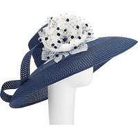 John Lewis Audrey Down Brim Hat, Navy/White