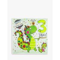 Rachel Ellen 3 Today Dinosaur Birthday Card
