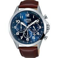 Lorus RT379FX9 Mens Chronograph Date Leather Strap Watch, Maroon/Blue