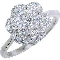 EWA 18ct White Gold Diamond Cluster Flower Ring, 1.01ct