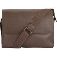 John Lewis Boston Leather Messenger, Chocolate