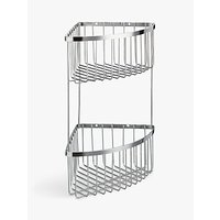 John Lewis Two Tier Stainless Steel Corner Shower Basket, Silver