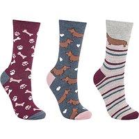 John Lewis Sausage Dog and Bone Print Ankle Socks, Pack of 3, Multi