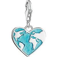 Thomas Sabo Enamel Heart Globe Charm, Silver/Turquoise