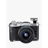 Canon EOS M6 Compact System Camera with EF-M 15-45mm IS STM Lens, HD 1080p, 24.2MP, Wi-Fi, Bluetooth, NFC, 3.0 LCD Tiltable Touch Screen, Silver
