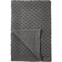 Croft Collection Cotton Chain Knit Throw, Storm Grey