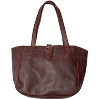 Fat Face Small Buckle Oiled Leather Tote Bag, Chocolate